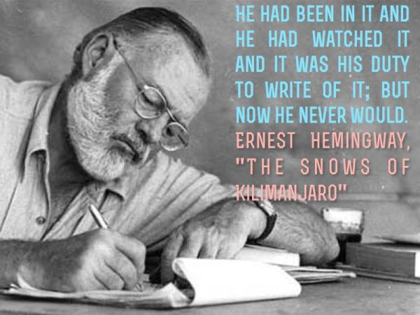Ernest Hemingway and writing